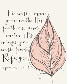 This is MY verse. The Lord always leaves me feathers to let me know He is here covering me with His wings. Thank you, Lord for caring about me!
