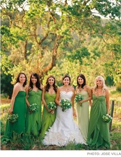 This could be a cool idea, pick a shed of green (or yellow) and have bridesmaids dress from dark to light in that color. I've also seen it where the maid of honor wears the lightest color, and the maid furthest from the bride wears the darkest color