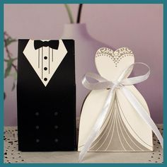 100Pcs Bridal Gift Cases Bags Groom Tuxedo Dress Gown Paper Mariage Boda Decoration Bomboniere Ribbon Wedding Favor Candy Boxes