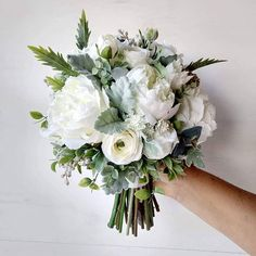 White and green faux floral wedding bouquet with peonies, roses, ranunculus and blushing bride Informations About Blooming Lovely Bou Artificial Wedding Bouquets, White Wedding Bouquets, Wedding Flower Arrangements, Bride Bouquets, Flower Bouquet Wedding, Floral Wedding, Green And White Wedding Flowers, Purple Bouquets, Bridesmaid Bouquets