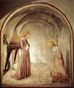 """""""Anunciación"""" Pintura mural elaborada por Fra Angélico de Fiesole para el monasterio de San Marco en Florencia hacia 1440."""