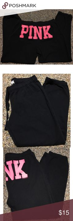 PINK Capri Pants Super cute black capri pants that can roll up on the bottom to whatever length you prefer. Nothing wrong with them!   ✨ All items are from a smoke free home ✨  📌 No Trades 📌 Open to offers 📌 Check out my closet, I have tons of different brands for men & women + some NWT items! PINK Pants Capris