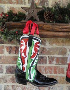 Boots As #Christmas Stockings (http://blog.hgtv.com/design/2012/12/11/daily-delight-boots-as-christmas-stockings/?soc=pinterest)
