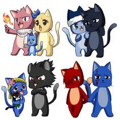 Everyone as cats, so cuteeeee Fairy Tail Cat, Fairy Tail Happy, Fairy Tail Gruvia, Fairy Tail Funny, Fairy Tail Family, Fairy Tail Love, Fairy Tail Couples, Fairy Tail Ships, Fairy Tail Anime