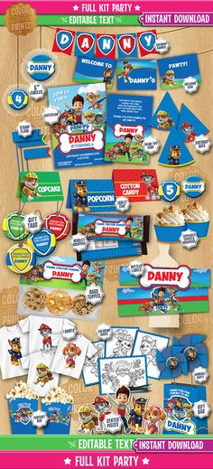 Paw Patrol FULL Party Theme Kit INSTANT by ColorAndPrints on Etsy