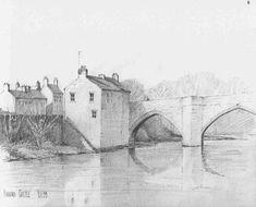County Bridge west side Barnard Castle - pencil sketch by Malcolm Coils Barnard Castle, West Side, Bridge, Sketch, Pencil, Anime, Painting, Art, Sketch Drawing