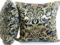 Gold satin pillow cover 20x20  Black damask sparkle by SABDECO