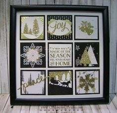 8 X 8 Winter Sampler made with Winter Wonderland DSP and lots of Gold Heat Embossing, punches, die cuts, and embellishments.