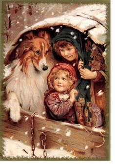 Kids And Collie Dog In Old Wagon Card s Snowy by NoCrybabyDoGs, $17.20