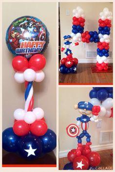 Captain America Birthday Balloons Balloon Ideas, Balloon Decorations Party, Birthday Party Decorations, Birthday Parties, Captain America Party, Captain America Birthday, Sailor Birthday, American Party, Balloon Columns