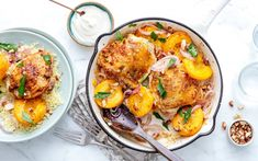 Shop local groceries for delivery in the San Francisco Bay Area. One-pan chicken thighs get a totally fresh take with summer apricots. The tagine-inspired seasoning includes green olives and preserved lemon, for a touch of Almond Yogurt, One Pan Chicken, Toasted Almonds, Chicken Seasoning, Egg Recipes, Chicken Thighs, Couscous, Curry, Meals