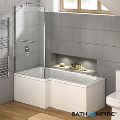 1675mm L-Shaped Square Bath - Left Hand - BathEmpire