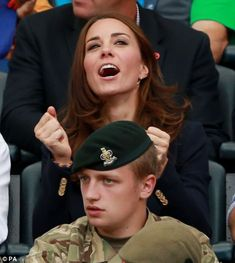 The meeting came as the young royals visited Glasgow's Hampden Park to watch the athletics, which had Kate cheering the athletes and competi...