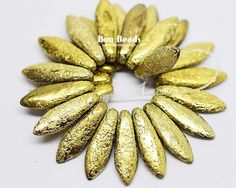 5x16mm Gold Ore Etched Daggers @ www.bonbeads.com