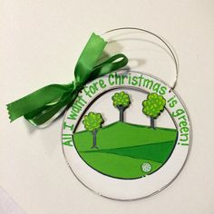 Golf Ornament -  golfer ornament -  golfer gift -  golf Christmas ornament -  personalized ornament -  wood -  painted -  golf course by HazelMartinDesigns on Etsy