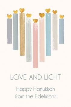 Personalized Hanukkah Heart Candles Gift Stickers