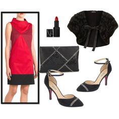 Combina tu vestido rojo con unos zapatos de fiesta, un labial rojo y un chaleco de pelo #look #fiesta