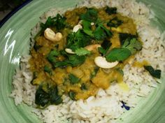 red lentils/cashew/spinach dish