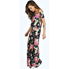 Boohoo Mia Floral Woven Off The Shoulder Maxi Dress (1,635 INR) ❤ liked on Polyvore featuring dresses, off shoulder dress, party maxi dresses, off shoulder floral dress, night out dresses and maxi dresses