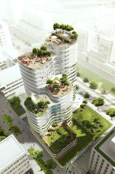 Image 2 of 10 from gallery of Housing Units in Nantes Winning Proposal / Hamonic + Masson. Photograph by Hamonic + Masson Architecture Durable, Futuristic Architecture, Sustainable Architecture, Contemporary Architecture, Amazing Architecture, Landscape Architecture, Landscape Design, Architecture Design, Architecture Diagrams