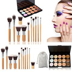 15 Colors Contour Face Cream Makeup Concealer Palette  11PC Bamboo Powder Brush BD072502 -- Be sure to check out this awesome product.