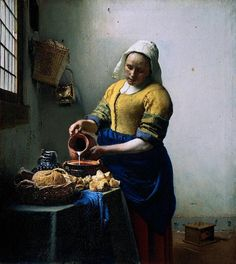 """""""The Kitchen Maid""""  c. 1658  Johannes Vermeer  Oil on canvas  Rijksmuseum  Object number SK-A-2344"""