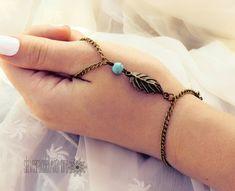 Hand Piece,Hand Chain,Bronze,Turquoise Pearl,Leaf, Stone,Bohemian,Hand,Body Jewelry Boho Style Slave Bracelet