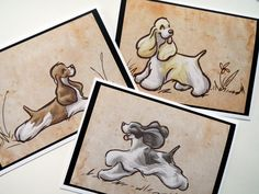 COCKER SPANIEL Greeting Cards by SUPATOON on Etsy