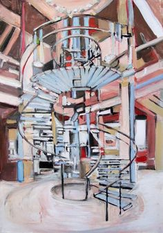 "Stair Amsterdam, 29x21"", oil on paper, 2013 MARY ANN STRANDELL ©"
