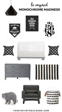 Black & White Nursery Idea | Are you looking for a modern twist on the traditional gender neutral nursery? Do you love classic black and white? If so, click through to find all the sources for this modern black and white baby room.