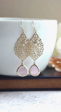 Gold Paisley Filigree Chandelier Blush Pink Gold Drop Dangle Earrings, Bridesmaid Earrings, Bridesmaid Gift, Wedding Bridal Jewelry by Marolsha