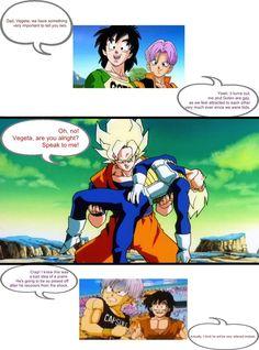Lol| trunks and gotens prank gone wrong...Vegeta's reaction lol XD
