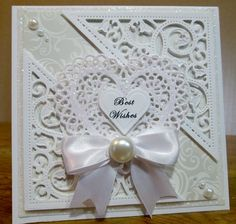 Spellbinders Gold Elements One and Lace Hearts White on White Wedding Card