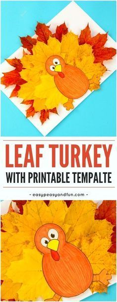 Turkey leaf craft for kids with template. Fun Fall craft project for kids to make at home or classroom.