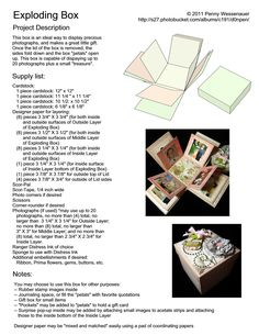 7 Best Images of Printable Templates Explosion Box Directions - Exploding Box Card Template, Explosion Box Card Template and Explosion Box Template Instructions Exploding Box Template, Exploding Box Card, Stampin Up Anleitung, Card Tutorials, Pop Up Cards, Folded Cards, Card Templates, Origami Templates, Diy Cards