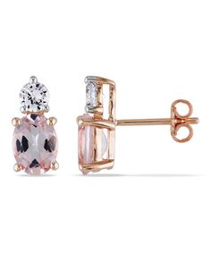 Take a look at this White Sapphire & Morganite Stud Earrings by Delmar on #zulily today!