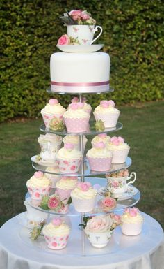 Life is What You Bake it!: Vintage Cake, Cupcakes & Tea Cups! Displayed on a Monochrom Range Cupcake Stand from Wedding Acrylics http://www.weddingacrylics.co.uk/round-cupcake-stands/001-7-R-MC.html