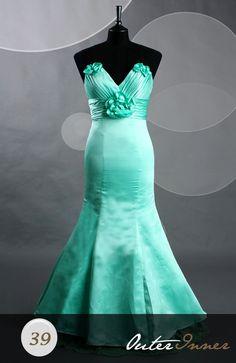 Satin Fabric Floor-length Sleeveless Trumpet/ Mermaid Greens Evening Wear Style Code: 06456