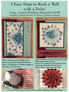 Check out the Rock n' Roll technique with a twist using the Frosted Medallions Stamp Set. Tutorial created by Melissa Kerman Stampin' Up! demonstrator since 2003.