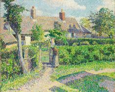 Peasants' houses, 1887 Eragny by Camille Pissarro