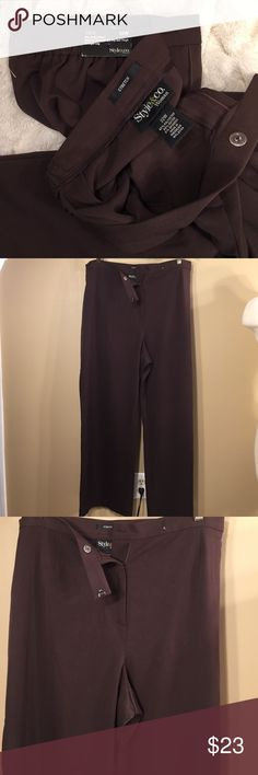 Style & Company Brown Julie work wear pant Julie- new with tags- sits at the waist and is relaxed through the hip and thigh with a straight leg.  Brown color NWT 22W stretch pant 62%poly/34%rayon 4% Spandex with high elastic sides. Style & Co Pants Trousers