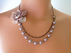 Vintage Lavender Rose Necklace by Pinking Edge Designs