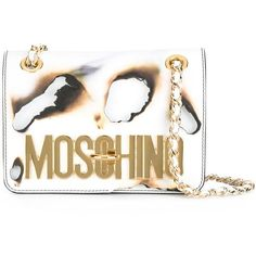 Moschino burned effect shoulder bag (26 500 UAH) ❤ liked on Polyvore featuring bags, handbags, shoulder bags, white, genuine leather handbags, chain shoulder bag, white handbags, leather purses and shoulder handbags