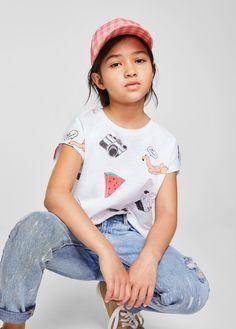 Wzorzysta bawełniana koszulka - Dziewczynka | MANGO Kids Polska