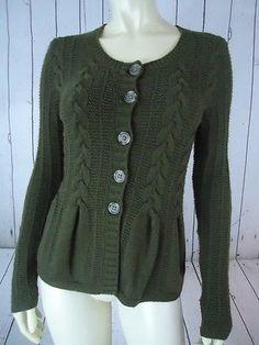 BANANA REPUBLIC Sweater XS Olive Green Cotton Nylon Wool Blend Peplum Cardigan