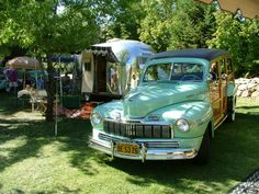 travel the country in an bambi | 1963 Airstream Bambi Trailer 1947 Mercury Station Wagon