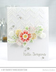 Handmade card from Barbara Anders featuring Blueprints 18 and Pretty Posies #mftstamps