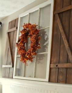 Do you have some barn wood or scrap wood you want to use for a project? A terrific idea is to make a set of DIY barn wood shutters for your home. Decorating Your Home, Diy Home Decor, Fall Decorating, Rustic Mantel, Yard Sale Finds, Barn Wood Crafts, Wood Shutters, House Shutters, Wood Pumpkins