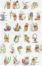 Artes da Nique: Gráfico em ponto cruz - Monograma Ursinho Pooh