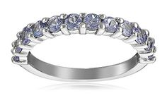 Sterling Silver Semi-Precious Gemstone Semi-Eternity Ring ** Click on the affiliate link Amazon.com on image for additional details.